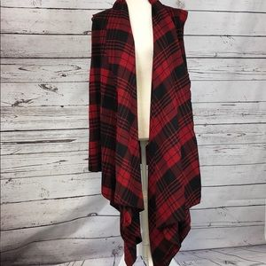 Beautiful red and black plaid sweater/jacket